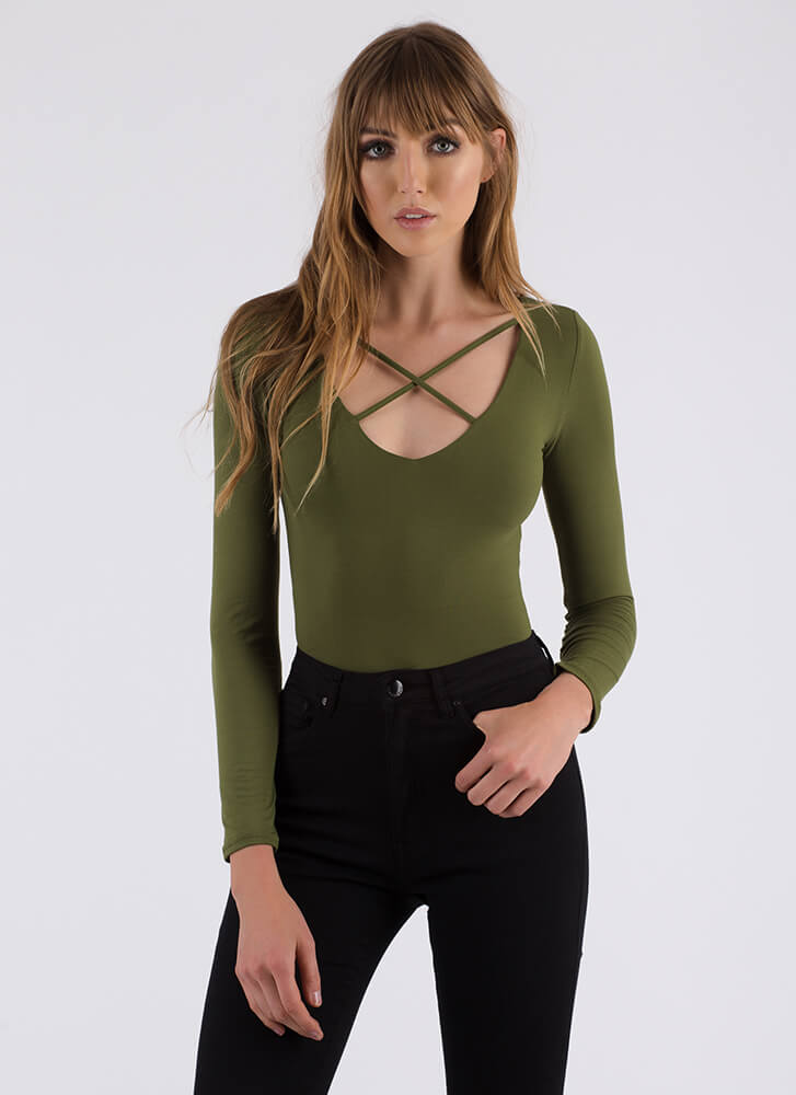 Strappiest Place On Earth Caged Bodysuit OLIVE