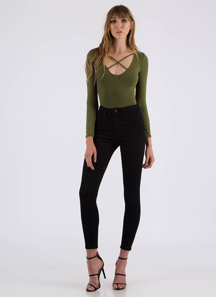 Strappiest Place On Earth Caged Bodysuit OLIVE (You Saved $10)