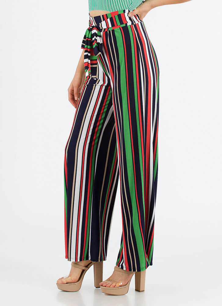 Stunning Stripes Tied Palazzo Pants GREEN