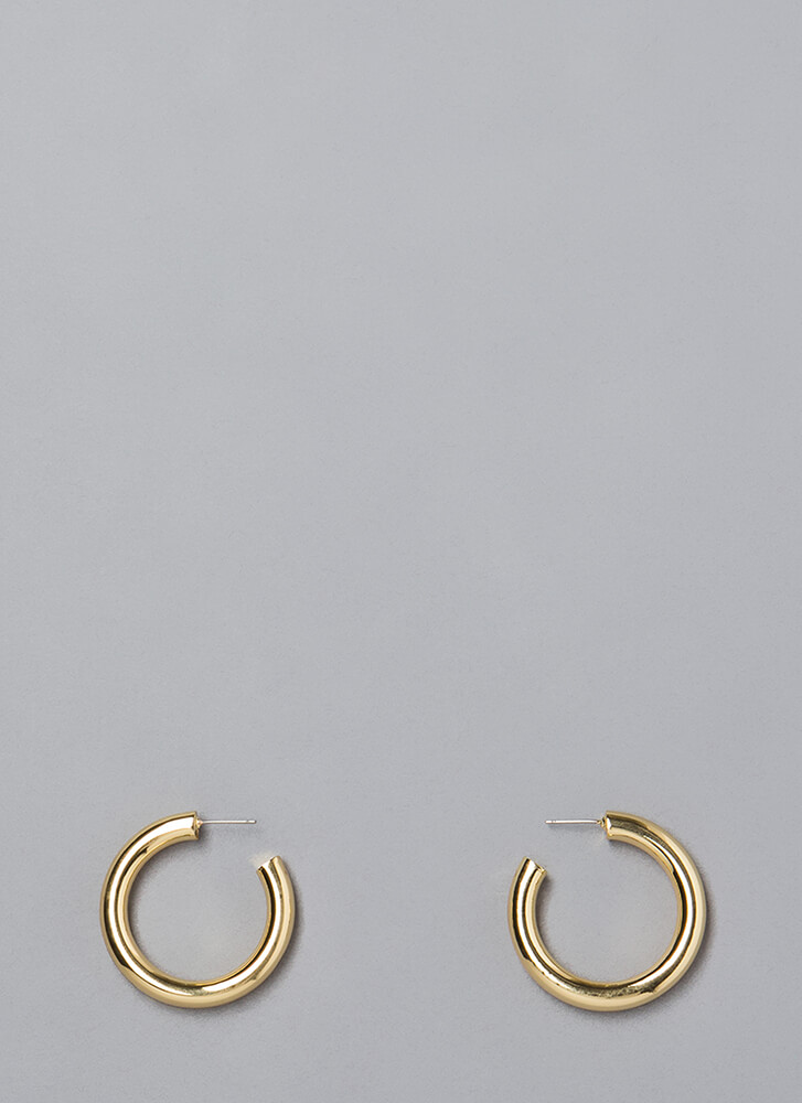 Round The Clock Partial Hoop Earrings GOLD