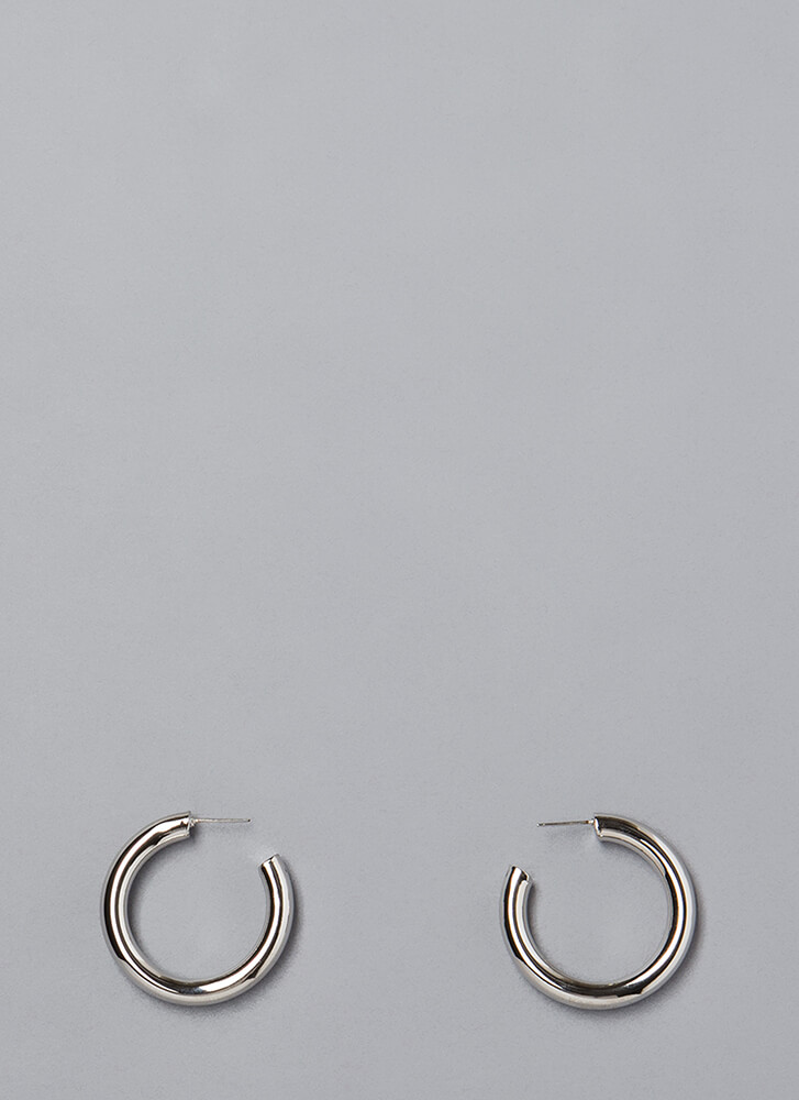 Round The Clock Partial Hoop Earrings SILVER