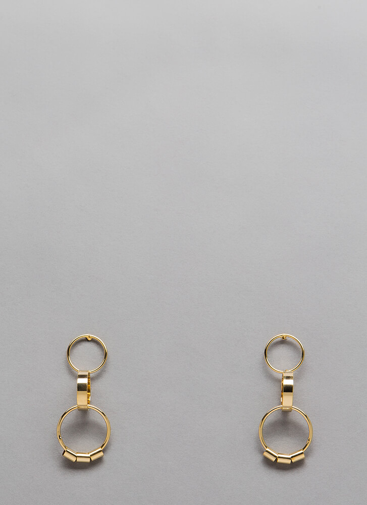 Three-Ring Circus Linked Earrings GOLD (You Saved $4)