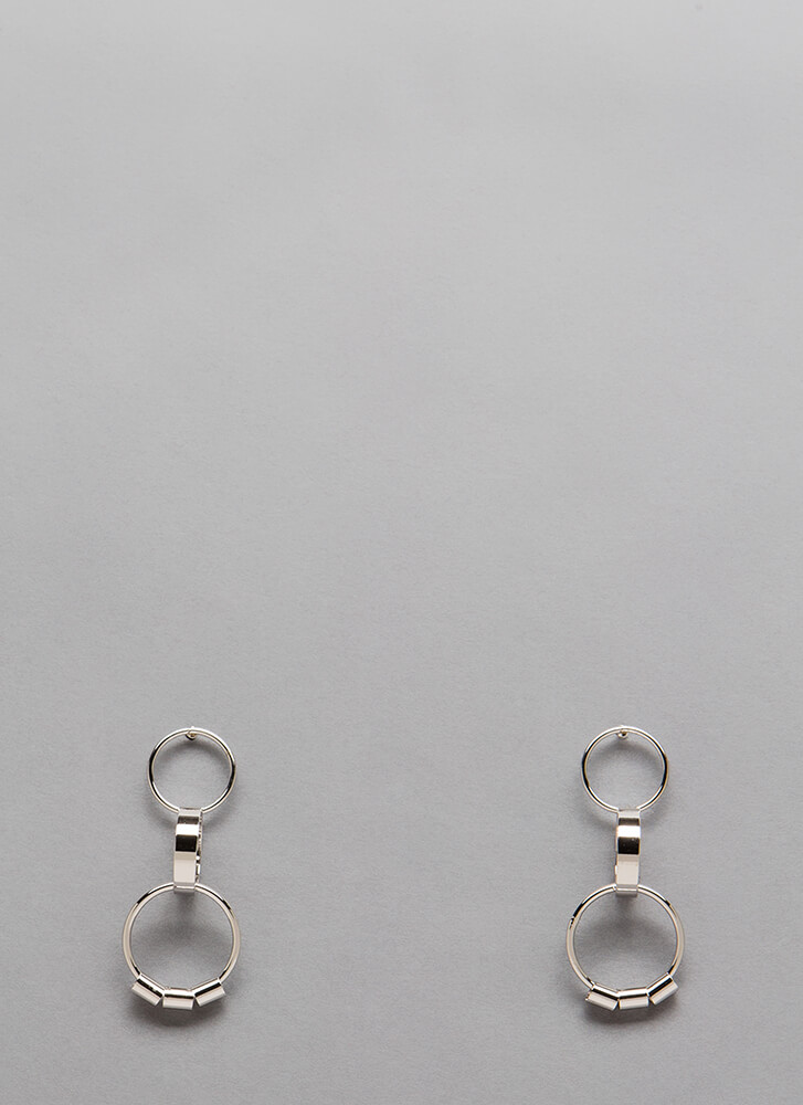 Three-Ring Circus Linked Earrings SILVER (You Saved $4)