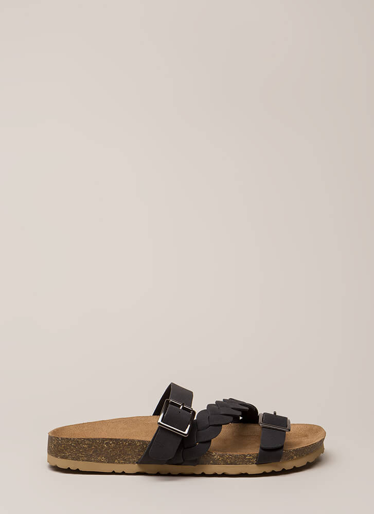 Strappy Trails Braided Slide Sandals BLACK