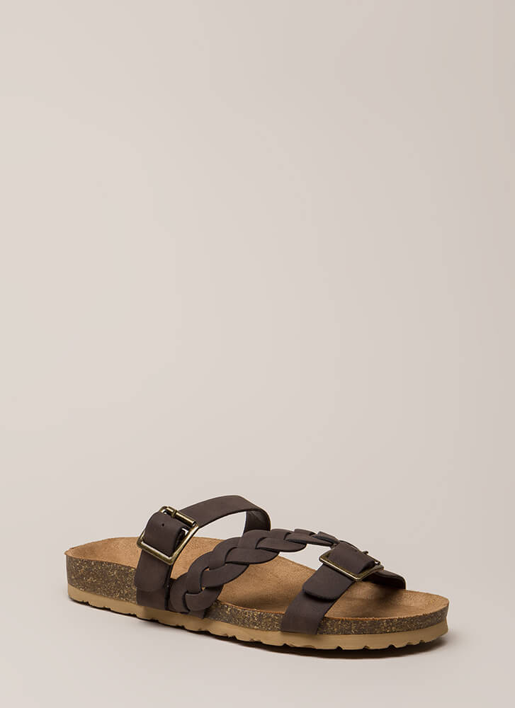 Strappy Trails Braided Slide Sandals DKBROWN