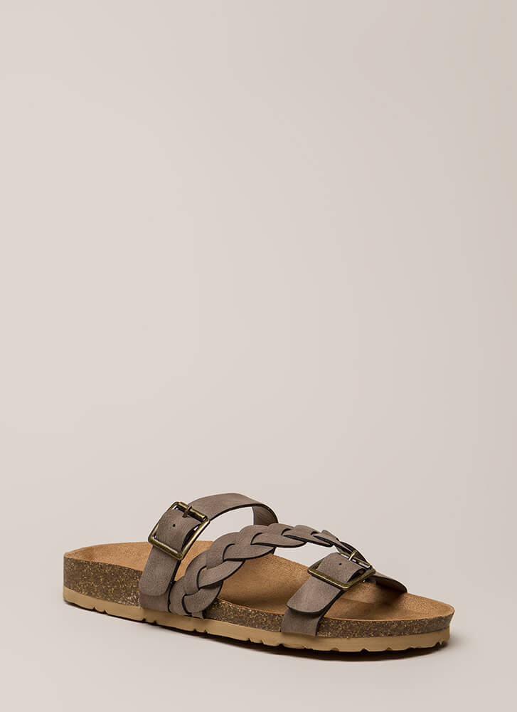 Strappy Trails Braided Slide Sandals TAUPE
