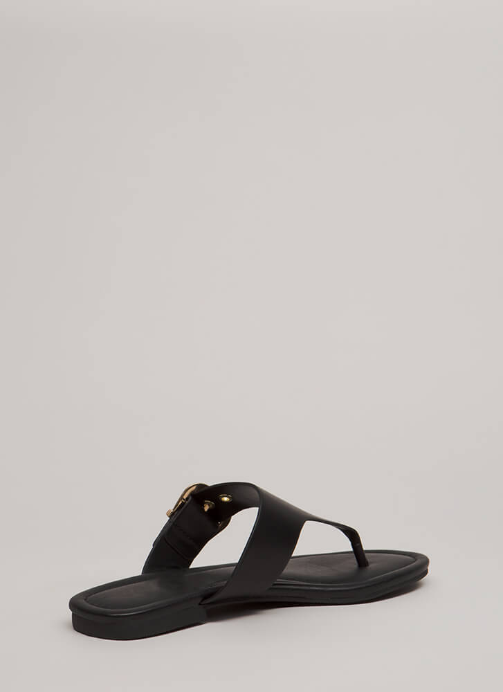 Luxury Cruise Buckled Thong Sandals BLACK