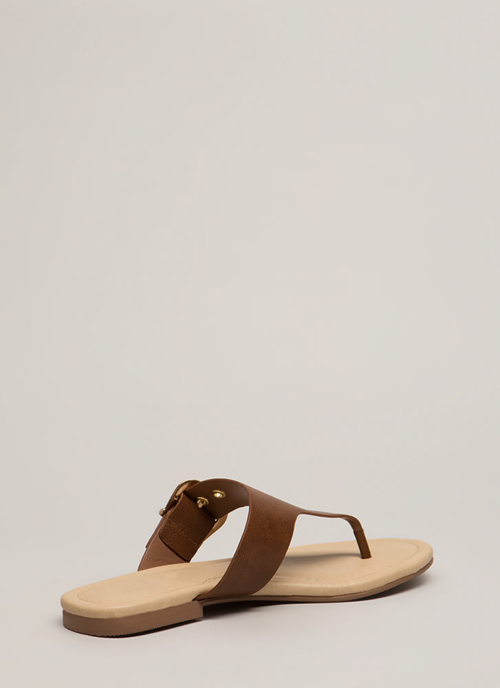 Luxury Cruise Buckled Thong Sandals DKTAN