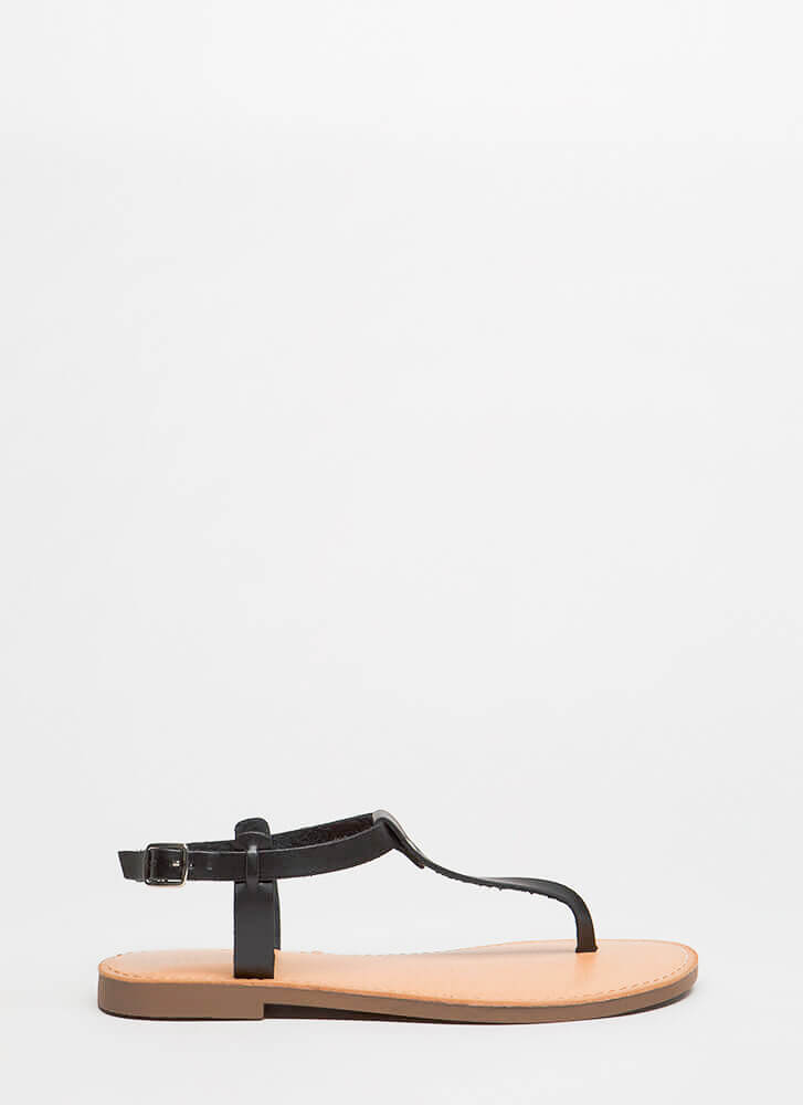 Stomping Ground T-Strap Sandals BLACK