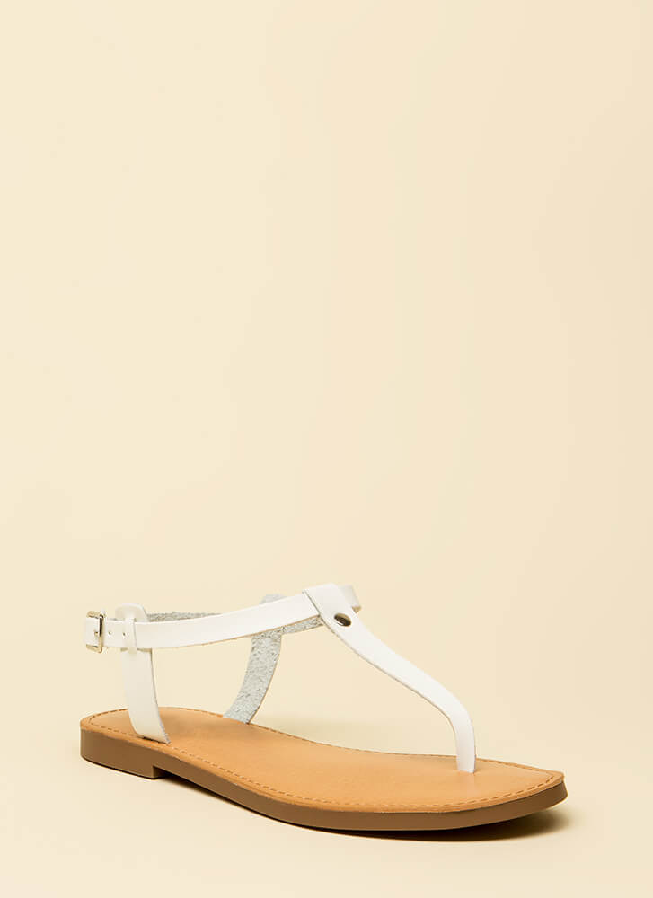 Stomping Ground T-Strap Sandals WHITE