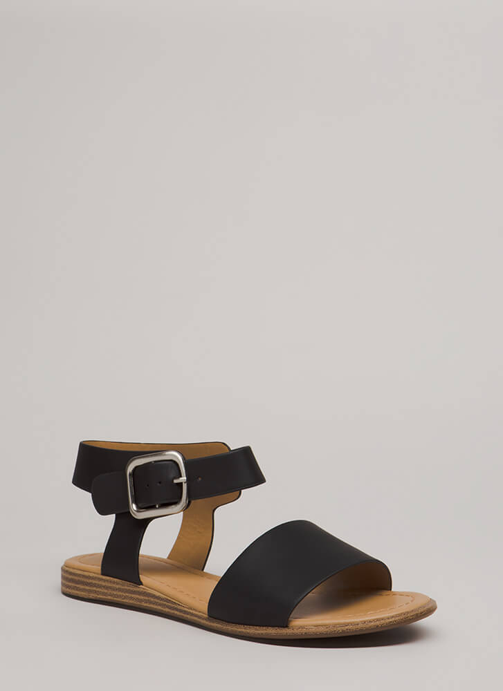 Walk To Remember Faux Leather Sandals BLACK