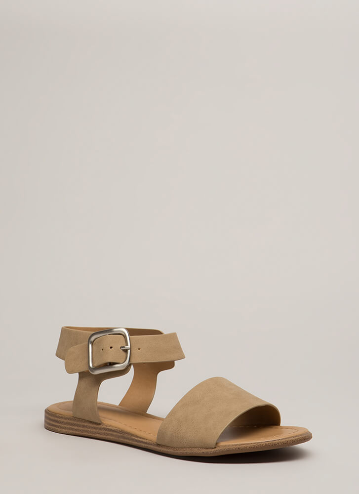 Take A Long Walk Faux Leather Sandals CAMEL