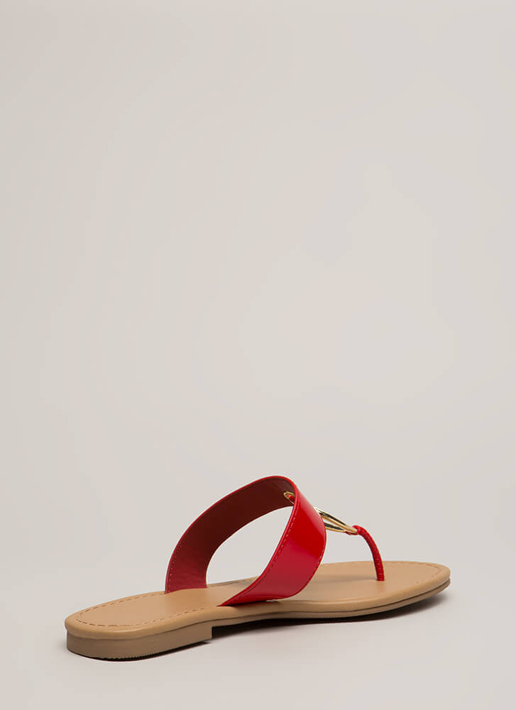 Ring Out The Old Jeweled Thong Sandals RED (You Saved $14)