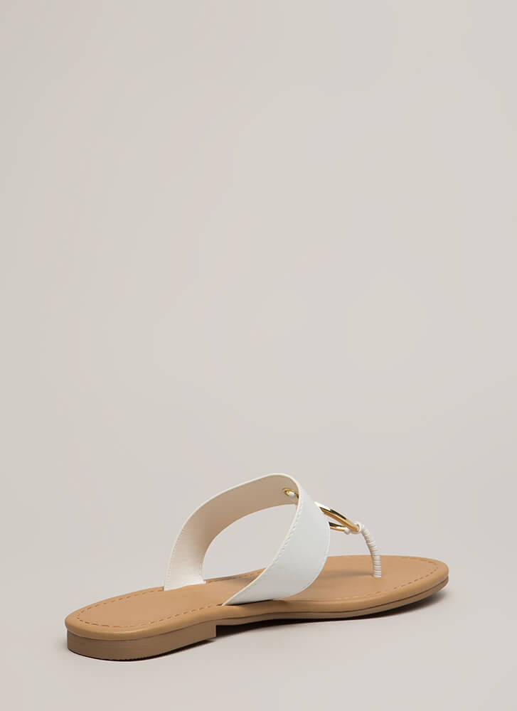 Ring Out The Old Jeweled Thong Sandals WHITE (You Saved $14)