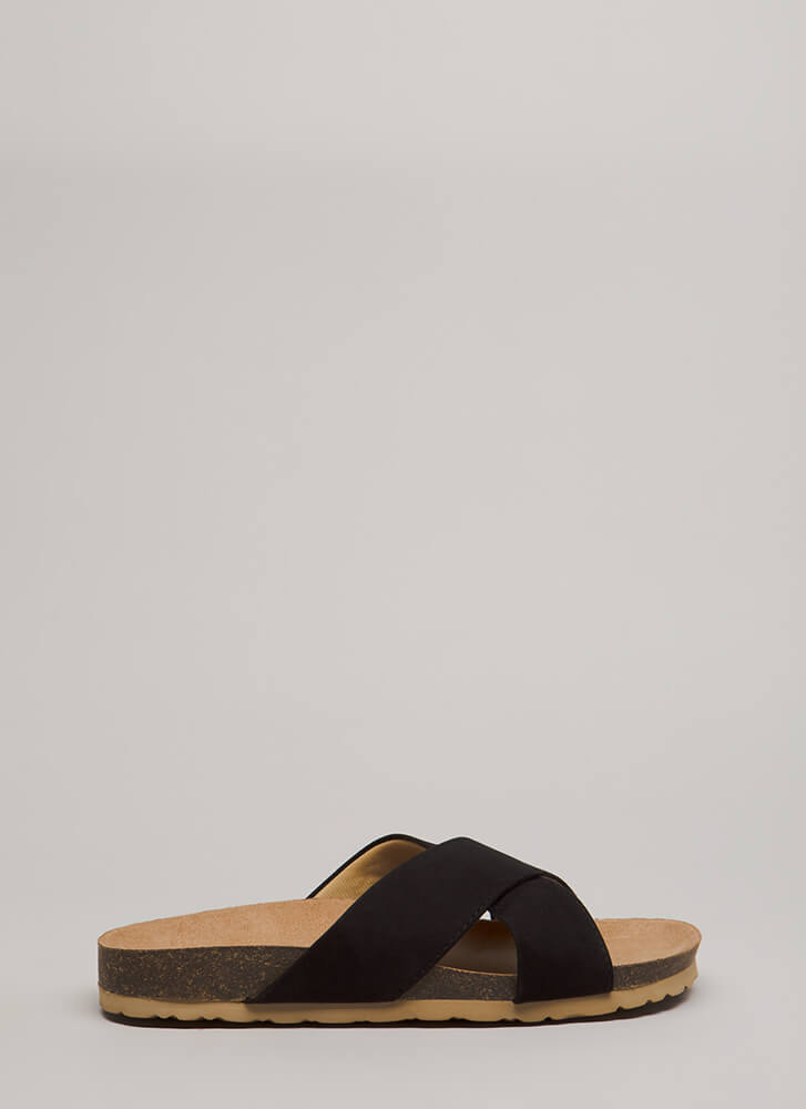Madame X Faux Suede Slide Sandals BLACK