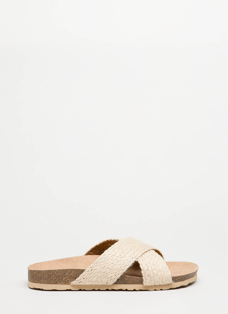 Madame X Braided Slide Sandals NATURAL