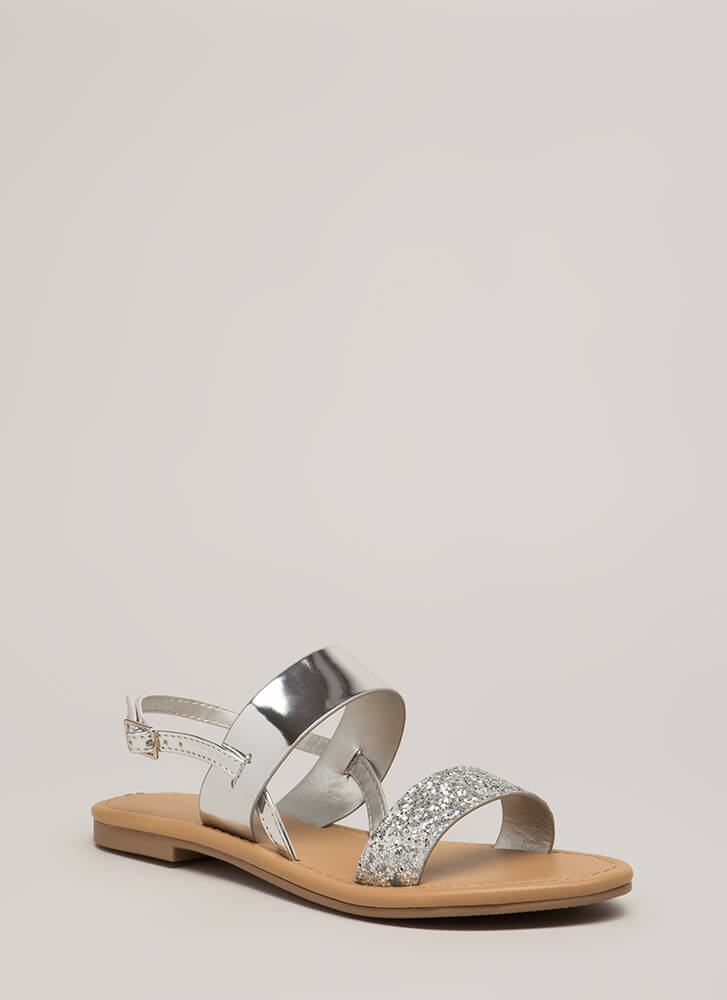 Twinkle Toes Glitter Strap Sandals SILVER (You Saved $12)