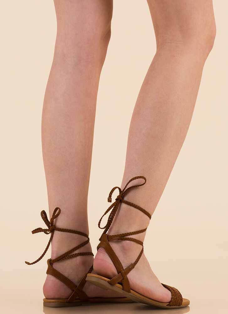 Weave Hello Braided Lace-Up Sandals DKTAN