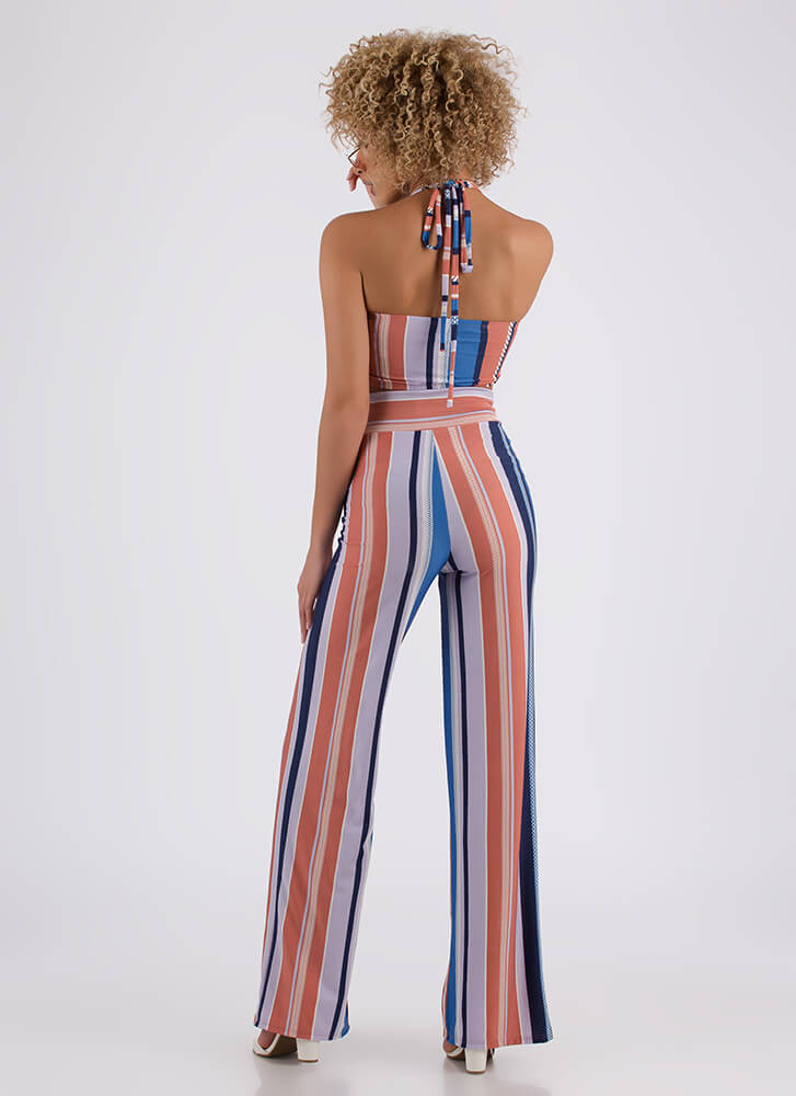 Striped Statement Tied Top And Pant Set BLUE