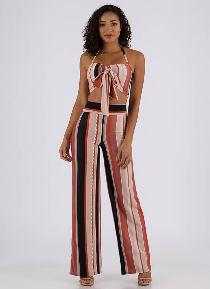 Striped Statement Tied Top And Pant Set BROWN
