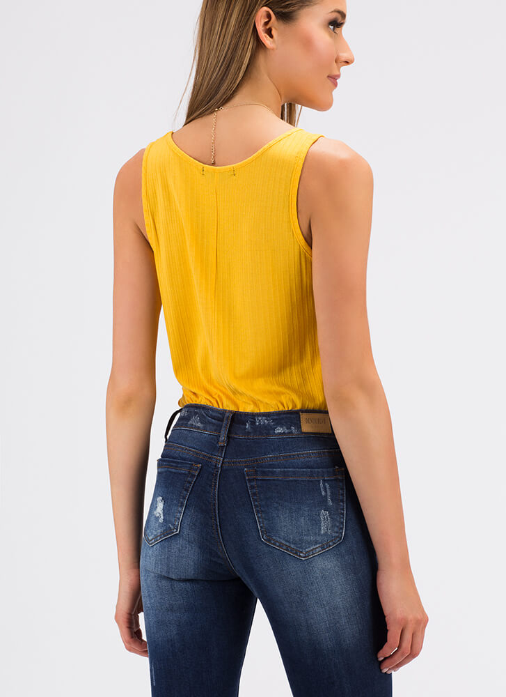 Rest And Relaxation Rib Knit Tank Top NEWMUSTARD