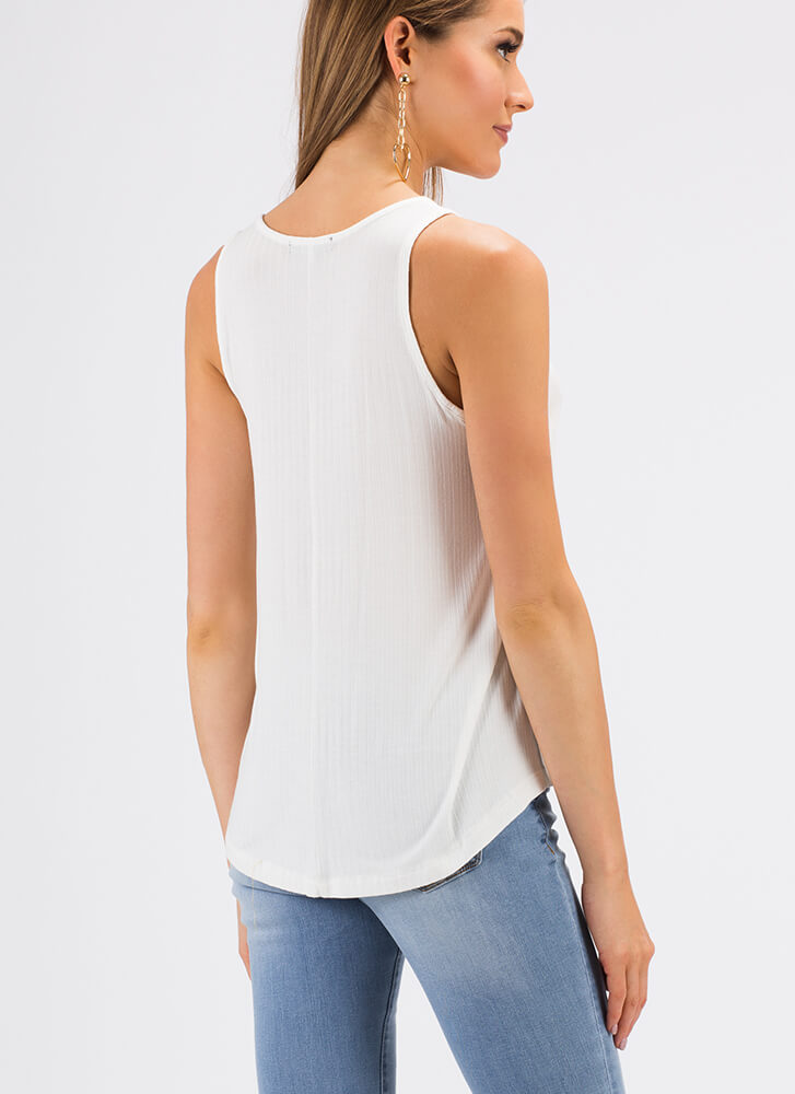 Rest And Relaxation Rib Knit Tank Top WHITE