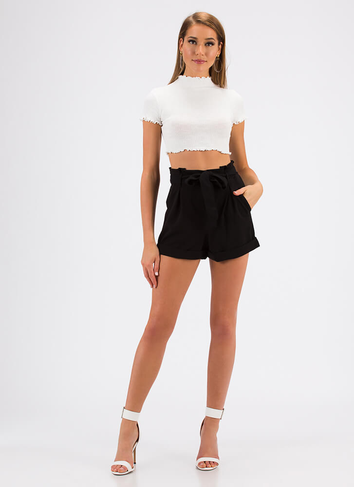 Every Day Lettuce-Edged Crop Top WHITE