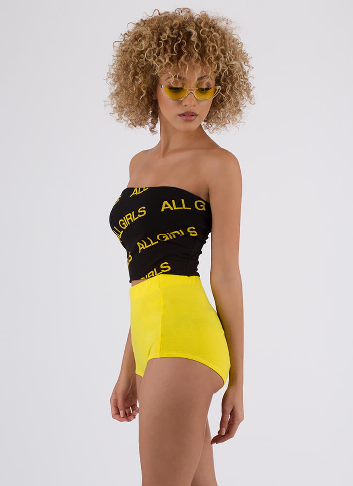 All Girls Strapless Graphic Crop Top BLACK