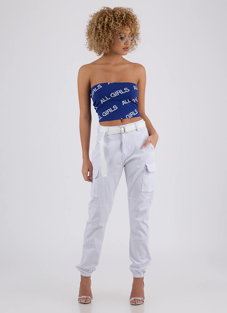 All Girls Strapless Graphic Crop Top BLUE