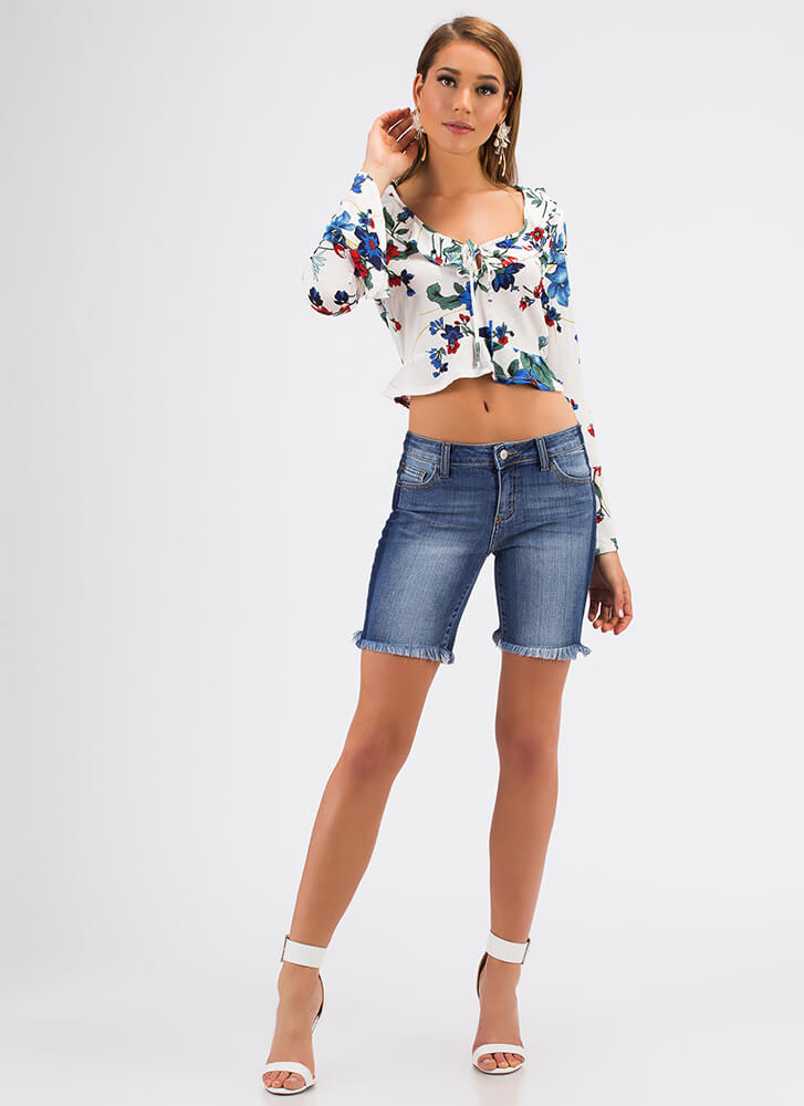 Fray It Cool Striped Denim Shorts BLUE (Final Sale)