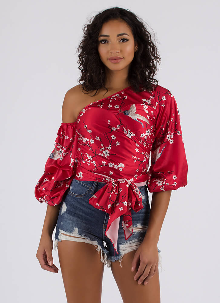 Cherry Blossom Season Satin Floral Top RED