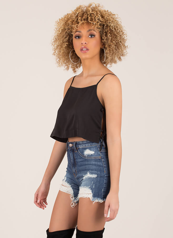 Side Chick Cropped Cami Tank Top BLACK