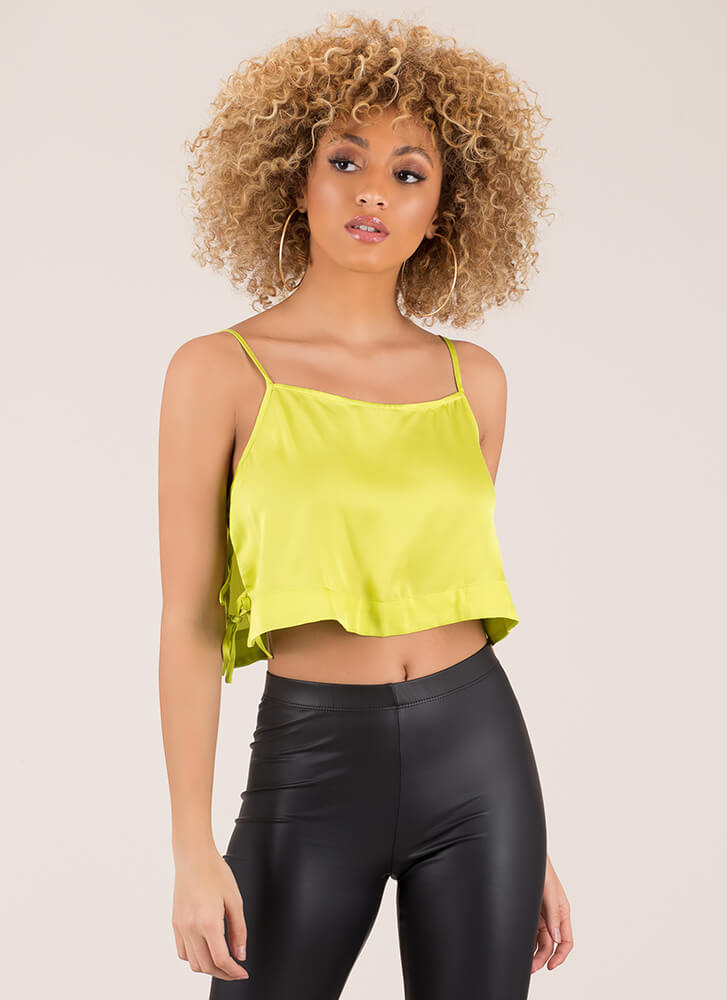 Side Chick Cropped Cami Tank Top CHARTREUSE