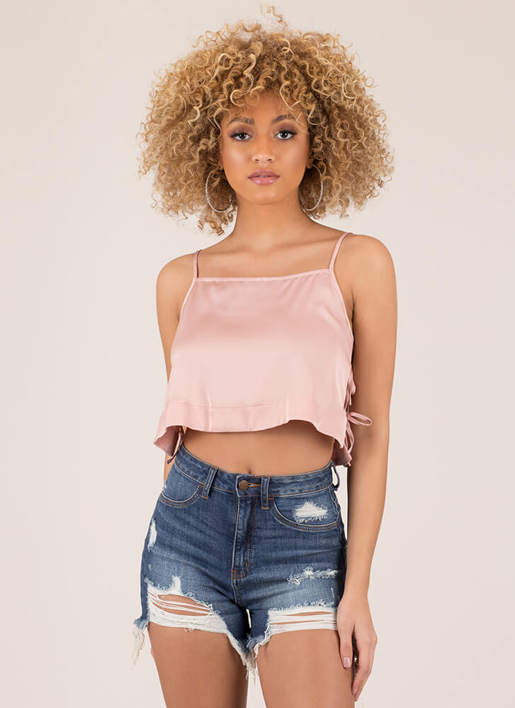 Side Chick Cropped Cami Tank Top PINK
