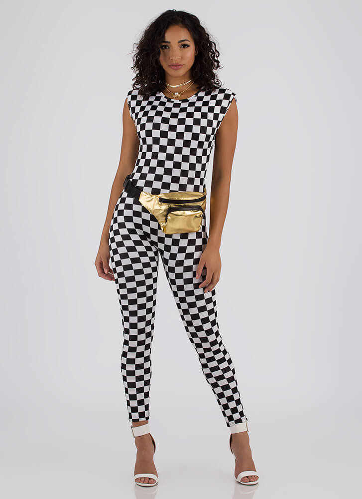 Race To The Finish Checkered Jumpsuit BLACKWHITE