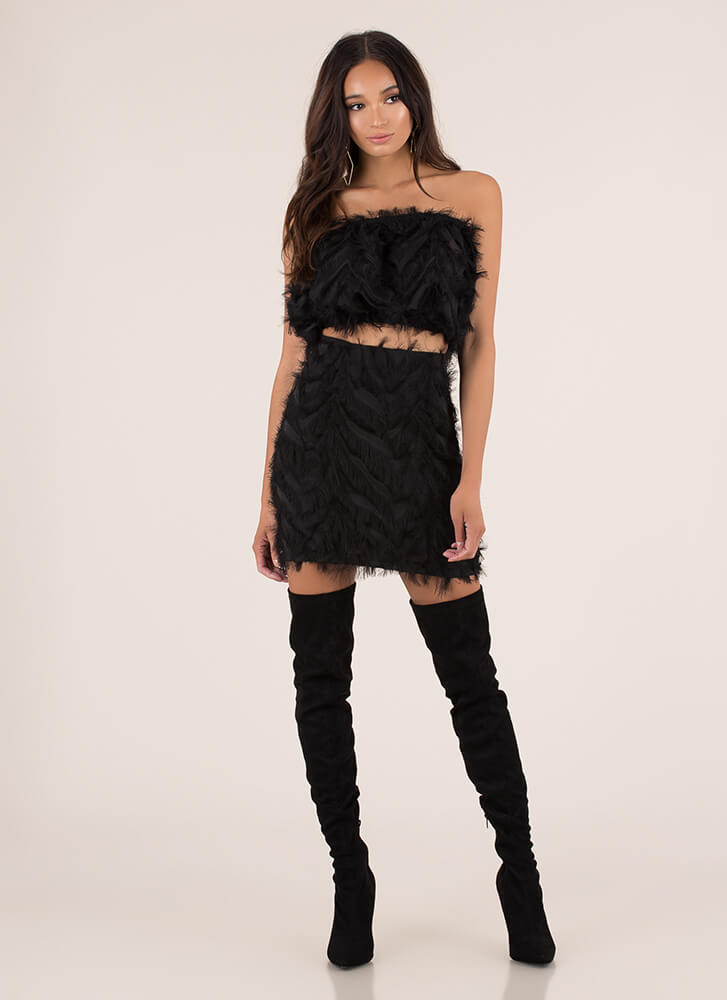 Founding Feathers Top And Skirt Set BLACK