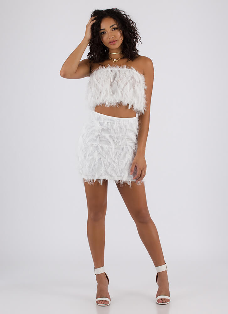Founding Feathers Top And Skirt Set WHITE