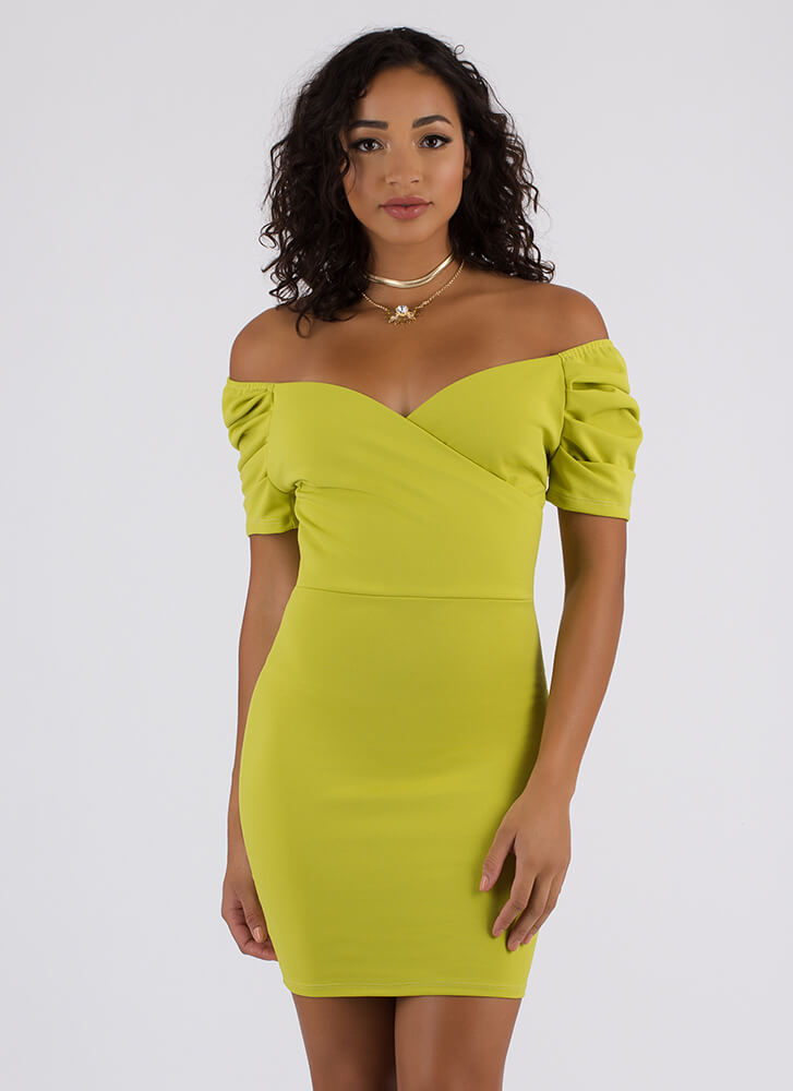 Party On Off-Shoulder Puffy Sleeve Dress LIME