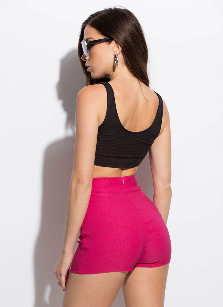 Kick It Up A Notch Tie-Front Shorts FUCHSIA