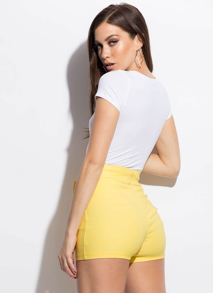 Kick It Up A Notch Tie-Front Shorts YELLOW