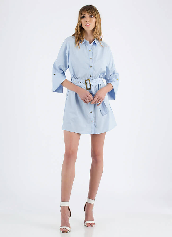 Fashion Is My Life Belted Shirt Dress LTBLUE