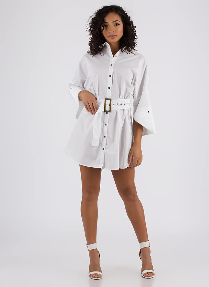 Fashion Is My Life Belted Shirt Dress WHITE