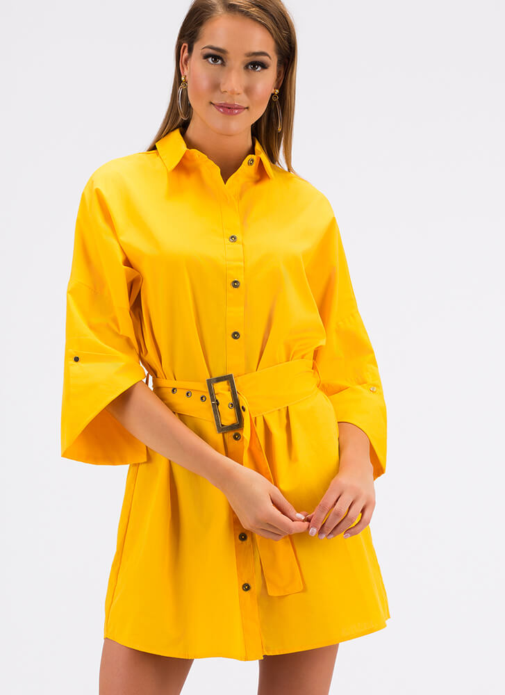 Fashion Is My Life Belted Shirt Dress YELLOW