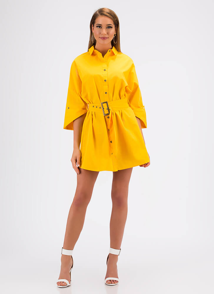 Fashion Is My Life Belted Shirt Dress YELLOW (You Saved $13)
