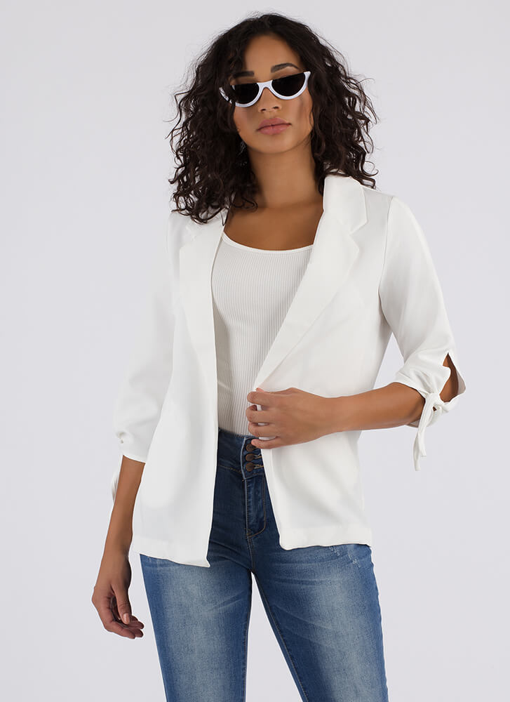 Knot Safe For Work Flyaway Blazer WHITE