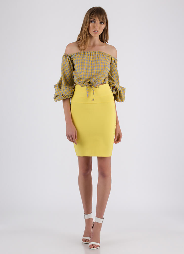 Fits Like A Glove Bandage Pencil Skirt YELLOW