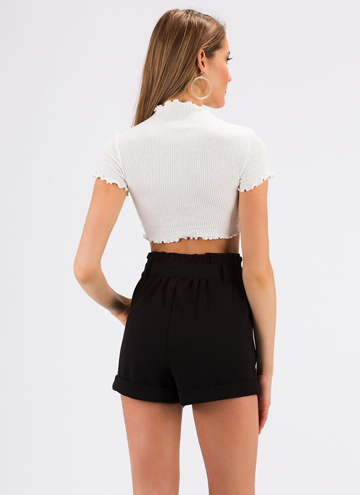 If You Pleats High-Waisted Shorts BLACK