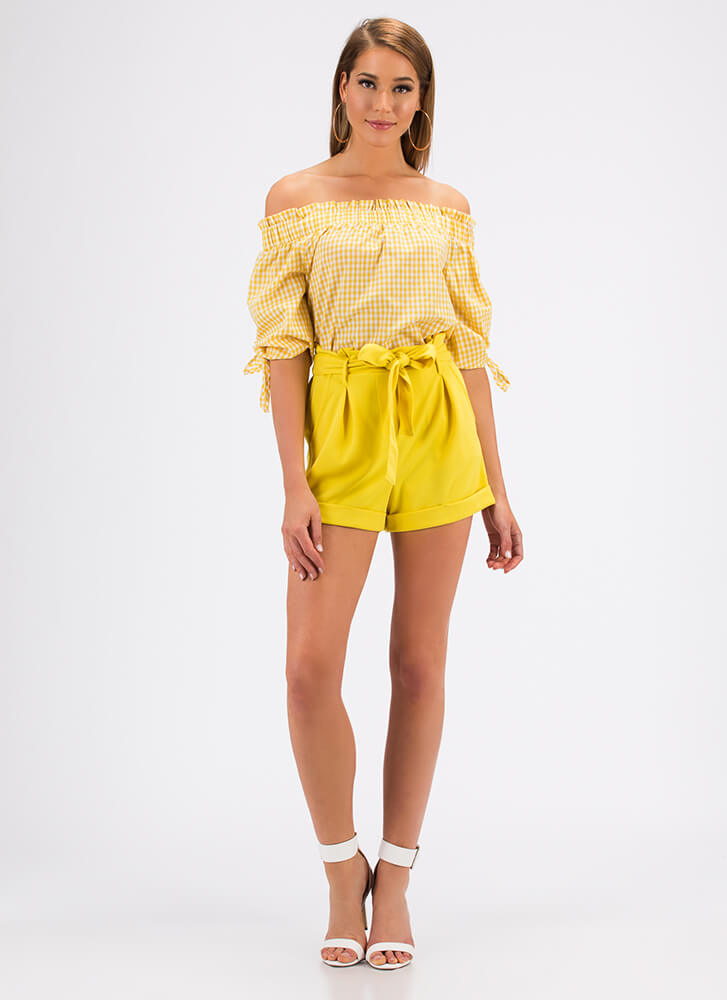 If You Pleats High-Waisted Shorts YELLOW