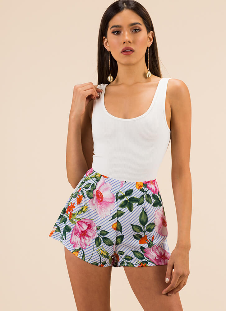 Spring In My Step Striped Floral Shorts BLUE