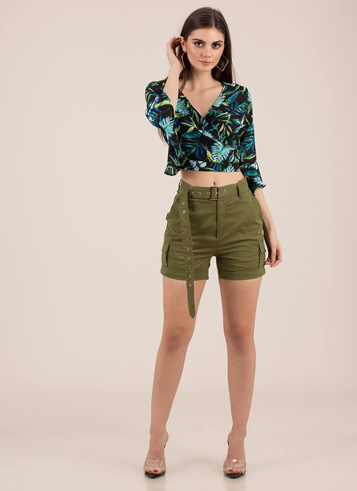 What A Re-Leaf Tropical Tie-Back Top BLACK